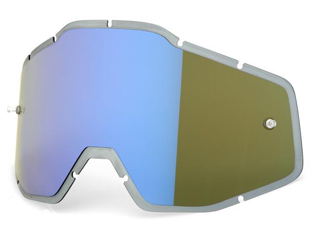 100% Mirror Anti-Fog F. Injected Lenti Racecraft/Accuri/Strata, blue mirror/smoke anti-fog